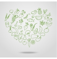Healthy food green heart vector