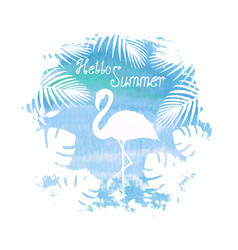 Hello summer lettering flamingo blue poster vector