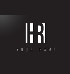 hr letter logo with black and white negative vector image