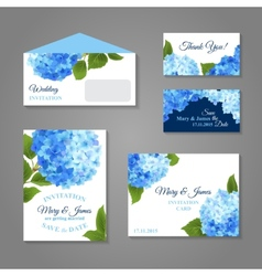 Hydrangea Invitations Set vector