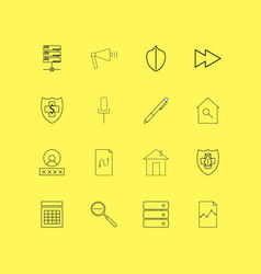 Internet of things linear icon set simple outline vector