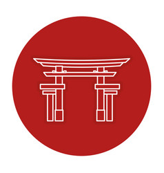 Japanese portal isolated icon vector