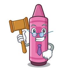 Judge pink crayon above cartoon school book vector