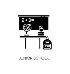 Junior school black glyph icon vector
