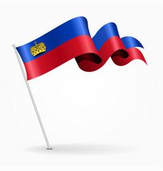 Liechtenstein pin wavy flag vector