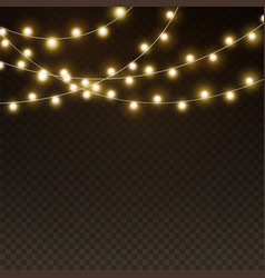 light garlands background realistic christmas vector image