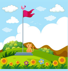 little cat sitting under the red flag pole vector image