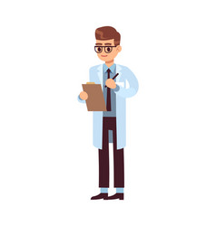 man doctor holding clipboard professional medic vector image