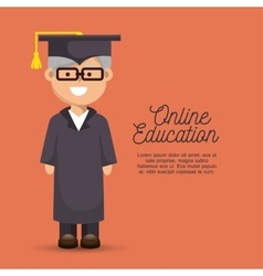 Man elder education online graduation vector