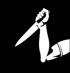 Man holding a knife vector