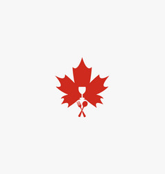 Maple leaf with fork and spoon restaurant logo vector