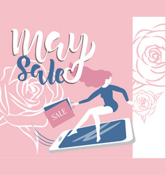 May sale flyer template with handwritten lettering vector