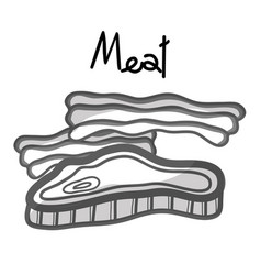 Meat and bacon fast food icon vector