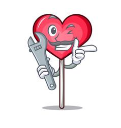 Mechanic heart lollipop mascot cartoon vector