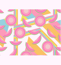 Memphis with watermelons seamless pattern pastel vector