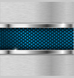 metal background with blue perforation vector image