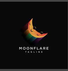 Modern abstract colorful moon logo icon vector