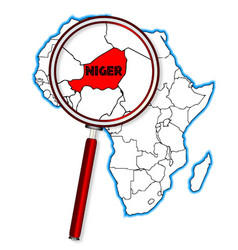 Niger under a magnifying glass vector