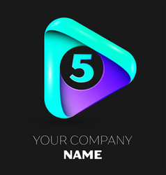 Number five symbol in the colorful triangle vector