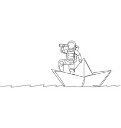 One single line drawing young astronaut look vector