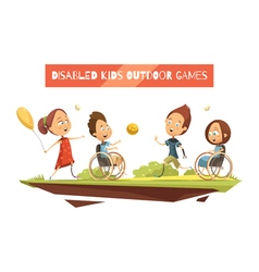 Outdoor Games Of Disabled Kids vector