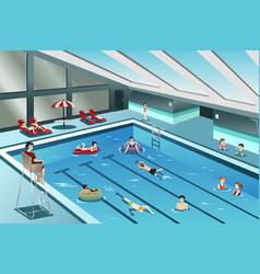 People going swimming vector