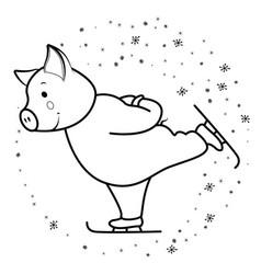 pig runs on skates symbol 2019 vector image