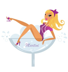 pinup blond girl vector image