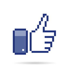 Pixel thumb up 8 bit icon vector