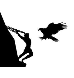Prometheus god eagle silhouette ancient mythology vector