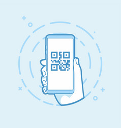 Qr code icon on smartphone screen vector