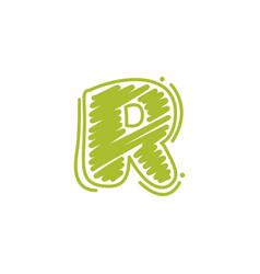 R letter logo in childish wax crayons scribbles vector
