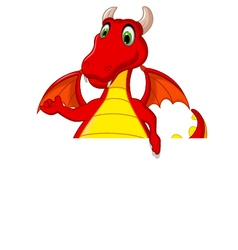 red dragon cartoon posing with blank sign vector image