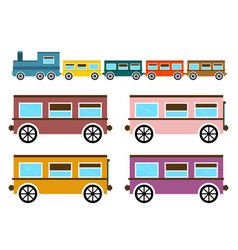 Retro flat design trains isolated on white vector