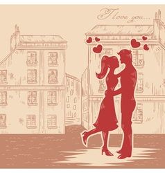 Romantic Valentine retro postcard vector