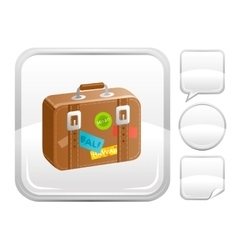Sea beach and travel icon with suitcase and other vector image