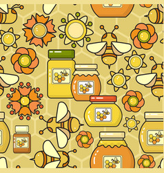 seamless pattern beekeeping product vector image