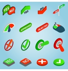 Selection set icons isometric 3d style vector image