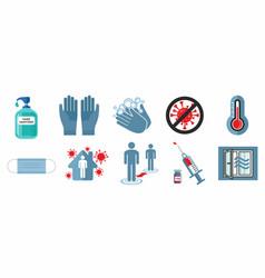 set covid-19 warning signs vector image