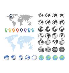 set globe and world map big set vector image