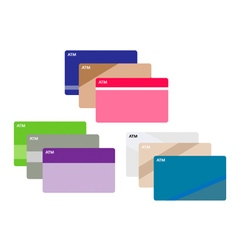Set of credit cards on white background vector