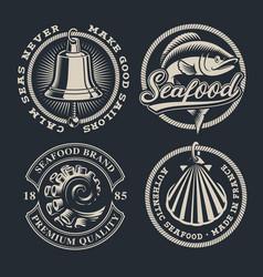 Set vintage seafood on dark background vector