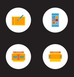 set wd icons flat style symbols with website vector image