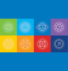 Seven chakras of human body with symbol om vector