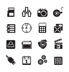 Silhouette internet and office icons vector