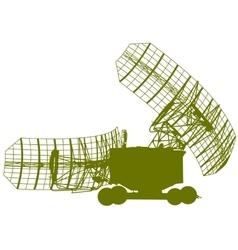 Silhouette military radar dish vector