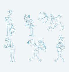 Six schoolchild set vector