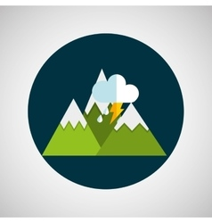 Snowy mountains lightning cloud weather concept vector