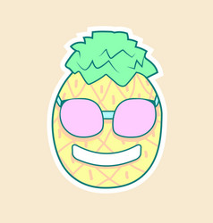 Sticker pineapple in glasses vector