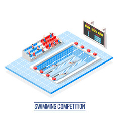 Swimming competition isometric composition vector